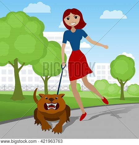 Happy Young Woman Walking With Her Angry Dog In The Park. Vector Illustration.