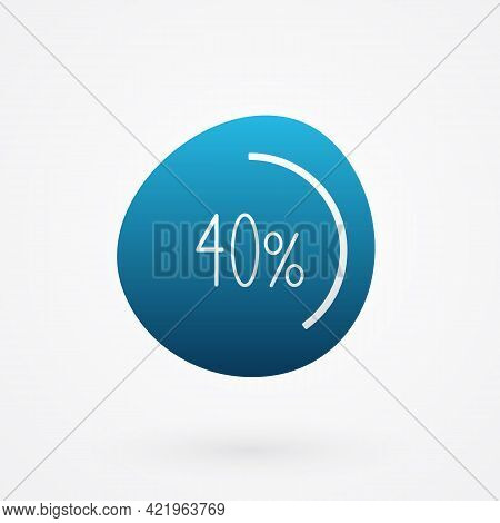 40 Percent Isolated Pie Chart. Vector Infographic Gradient Icon. Sign For Business, Finance, Web Des