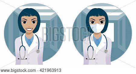 Smiling Medical Doctor Woman With Stethoscope. Doctor In A Medical Mask. Vector Illustration.