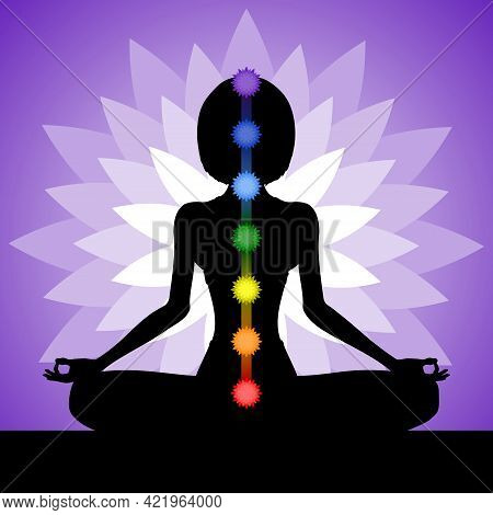 Silhouette Of A Woman Meditating In The Lotus Position. Yogi Girl With Chakras. Vector Illustration.