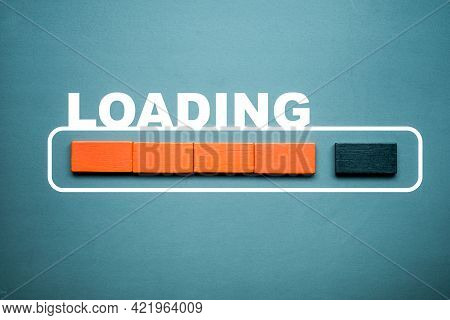 Loading Bar With Wood Stick Cube On Pastel Background. Wooden Stick Blocks With The Word Loading In