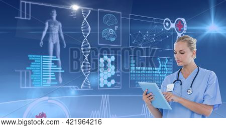 Composition of female doctor using tablet over screen showing scientific research interface. global medicine, research and digital interface concept digitally generated image.