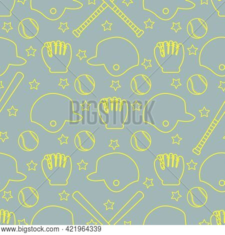 Vector Seamless Pattern With Baseball Bats, Ball, Helmet, Baseball Glove. Sports Background. Design