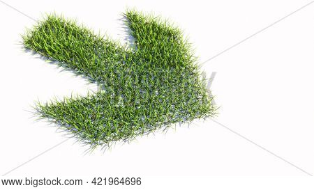 Concept or conceptual green summer lawn grass symbol shape isolated white background, road sign. 3d illustration metaphor for navigation, strategy, journey, guidance, choice and decision
