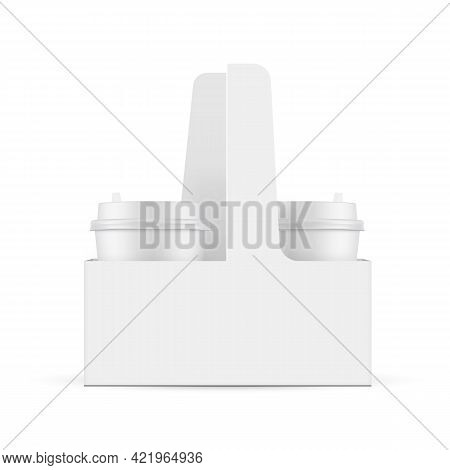 Coffee Cups In Carrier Box, Isolated On White Background. Vector Illustration