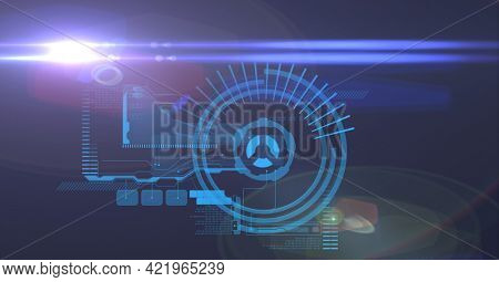 Composition of scope scanning and digital data processing on blue background. global business, technology and digital interface concept digitally generated image.