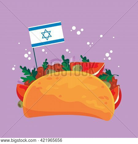Falafel Cartoon With Israeli Flag. Pita, Traditional Jewish Food. Vegetarian Falafel With Vegetables