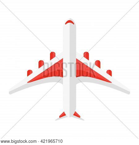 Cartoon Vector Illustration Isolated Object Airplane From Aerial Perspective