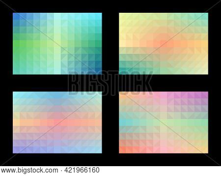Pastel Color Pattern Set Abstract Background. Geometric Shapes, Triangles, Squares, Gradients. Desig