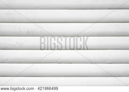 Background From White Boards, Wall Of A Wooden House, White Wooden Blockhouse From Boards, Logs, Moc