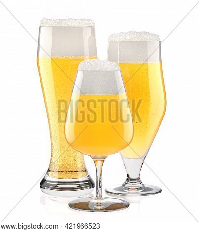 Set Of Fresh Light Beer Glasses With Bubble Froth Isolated On White Background.