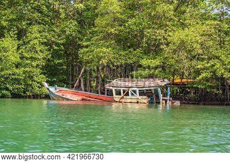 Fishing Ship Wreck On Klong Chao River On Koh Kood Island At Trat Thailand.koh Kood, Also Known As K
