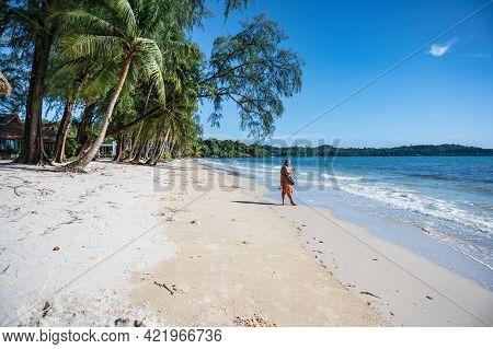 Asia Guy With Beautiful Idyllic Seascape View On Kohkood Island In Low Season Travel.koh Kood, Also