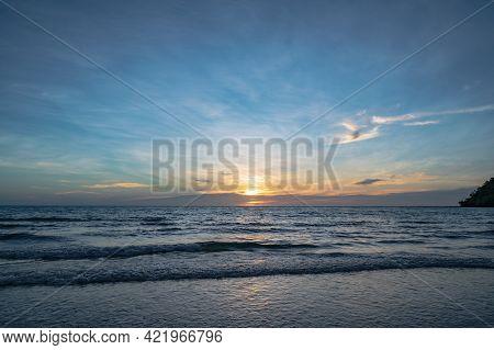 Beautiful Idyllic Seascape Sunset View On Kohkood Island In Low Season Travel.koh Kood, Also Known A