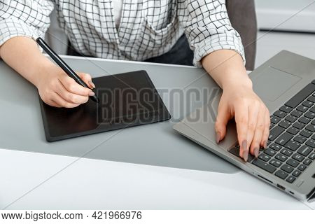 Woman Creative Designer Working With Professional Equipment. Freelancer Draws On Graphics Tablet. Wo