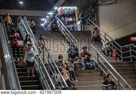 Bangkok/thailand- 22 Oct 2020:unacquainted People In Mochit Bus Station Bangkok Thailand In The Long
