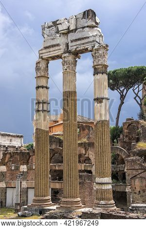 Part Of The Roman Forum Ruins, Which Are Several Important Ancient Government Buildings That Sit At