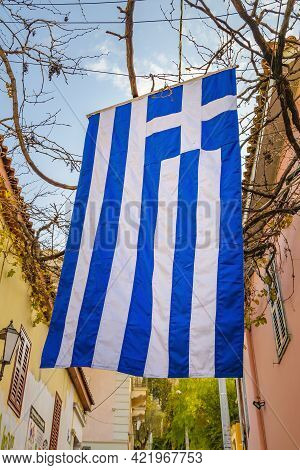 Greece Flag, Plaka District, Athens