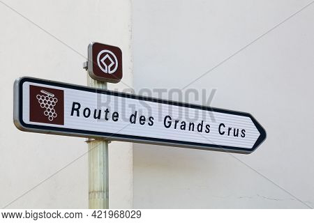 Chassagne-montrachet, France - July 5, 2020: Road Of The Grand Crus Called Route Des Grands Crus In