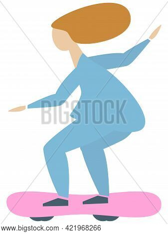 Young Skater Woman Riding On Longboard. Flat Style. Isolated Vector Illustration On White Background
