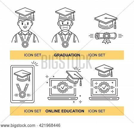 Online Distant Education, Graduation Line Icon Set. Educate Internet Course. Home E-learning. Video