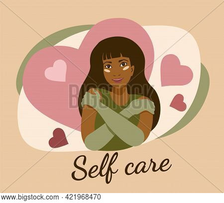 Self Care Cartoon Tanned Young Girl In Gloves Hugging Herself With Hearts On Background Card Poster