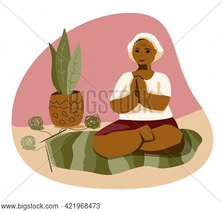 Elderly Dark Plus Size Woman Home Workout In Yoga Lotus Position. Self Care Meditation In Home With
