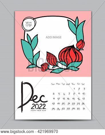 Calendar 2022 Design Nature Concept, Wall Calendar 2022 Year, Lettering Calendar, Desk Calendar Temp