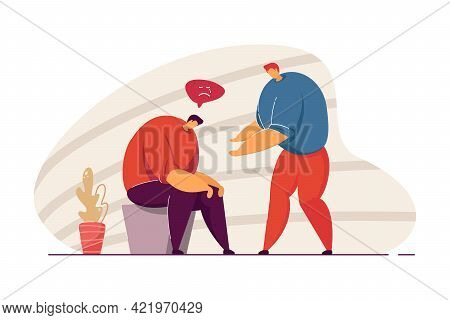 Man Comforting Sad Friend. Depressed Male Character Sitting With Head Down Flat Vector Illustration.