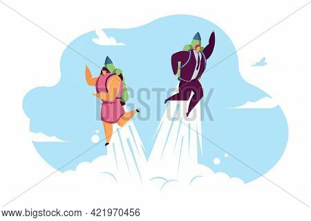 Business Couple Flying Fast Up In Sky. Man And Woman With Jet Packs Flat Vector Illustration. Promot