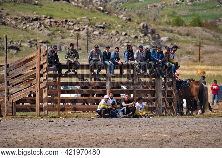 Kupchegen. Russia. May 14, 2021. Altai National Equestrian Game Kok-boru. Spectators From All Over T