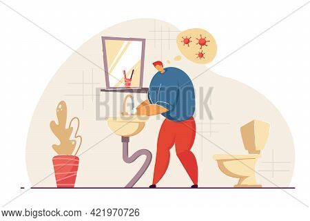 Man Washing Hands In Restroom. Male Cartoon Character Thinking Of Getting Virus Flat Vector Illustra