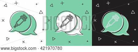 Set Addiction To The Drug Icon Isolated On White And Green, Black Background. Heroin, Narcotic, Addi