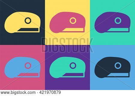 Pop Art Military Beret Icon Isolated On Color Background. Soldiers Cap. Army Hat. War Baret. Vector