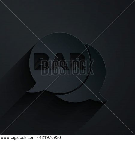 Paper Cut Street Signboard With Inscription Bar Icon Isolated On Black Background. Suitable For Adve