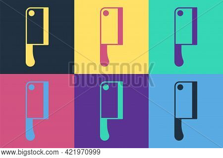 Pop Art Meat Chopper Icon Isolated On Color Background. Kitchen Knife For Meat. Butcher Knife. Vecto