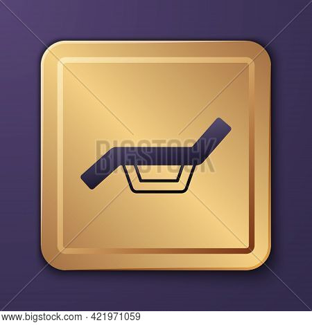 Purple Sunbed Icon Isolated On Purple Background. Sun Lounger. Gold Square Button. Vector