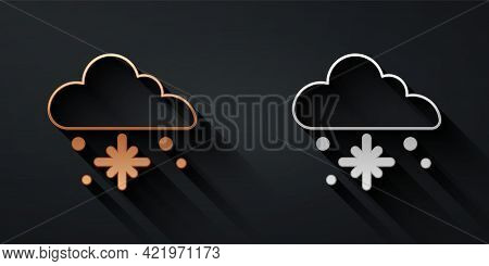 Gold And Silver Cloud With Snow Icon Isolated On Black Background. Cloud With Snowflakes. Single Wea