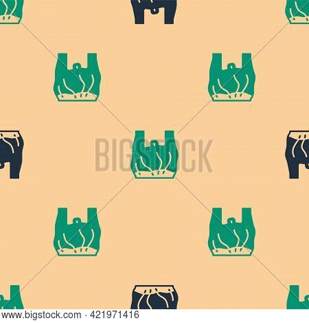 Green And Black Say No To Plastic Bags Poster Icon Isolated Seamless Pattern On Beige Background. Di
