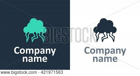Logotype Storm Icon Isolated On White Background. Cloud And Lightning Sign. Weather Icon Of Storm. L