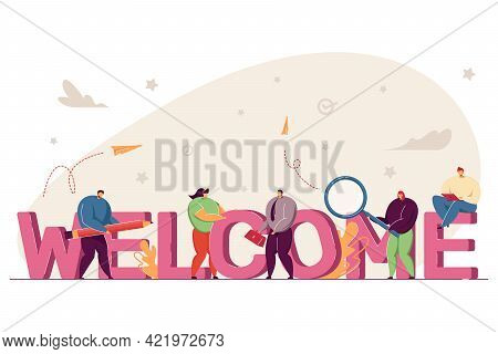 Team Of People Welcoming New Member. Happy Office Workers With Huge Word Flat Vector Illustration. W