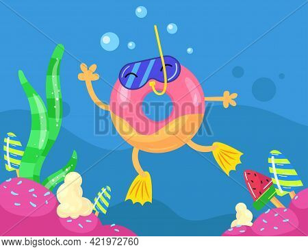 Cute Colorful Glazed Doughnut Diving. Cartoon Vector Illustration. Doughnut Wearing Mask With Snorke