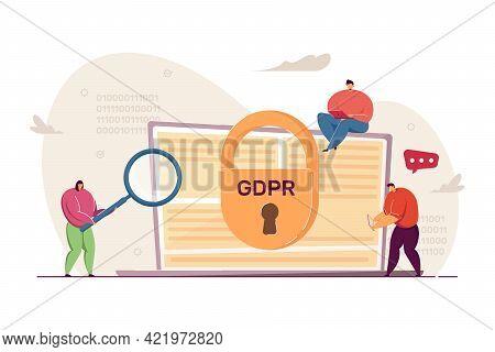 Tiny People Examining Laptop. General Data Protection Regulation Flat Vector Illustration. Gdpr, Pri