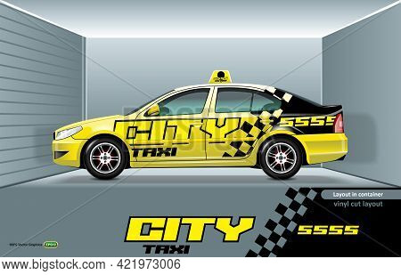 Layout Taxi Car Sedan With A Design On The Sides, Ready For Vinyl Cutting.