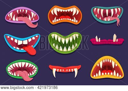 Mouths Of Cartoon Monster Characters Vector Illustrations Set. Scary Creatures, Goblins, Trolls Or G