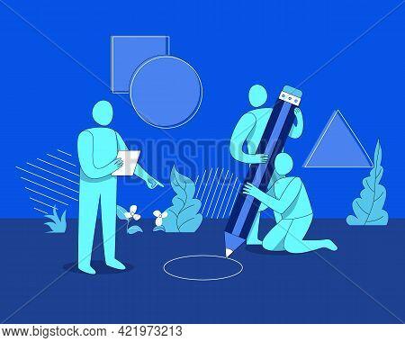 Teamwork Vector, Designer Teamwork Illustration, Bubble Men's Team Working Concept