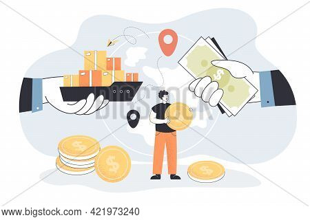 Huge Hands With Cargo And Cash Against Globe. Tiny Man With Coin, Export Market Flat Vector Illustra
