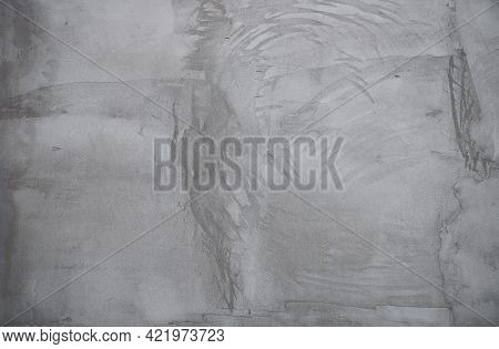 Texture Rough Gray Decorative Plaster. Background Of Old Concrete Wall. Gray Grunge Texture. Cement