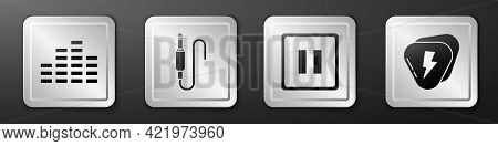 Set Music Equalizer, Audio Jack, Pause Button And Guitar Pick Icon. Silver Square Button. Vector