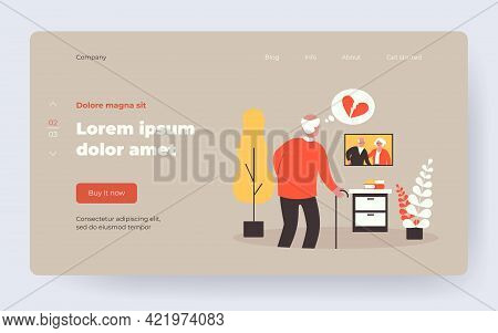 Elder Man Missing Passed Wife. Widower With Broken Heart Looking At Couple Picture. Flat Vector Illu